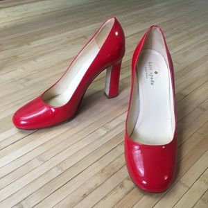 Kate Spade patent leather pumps shiny red 7.5 B